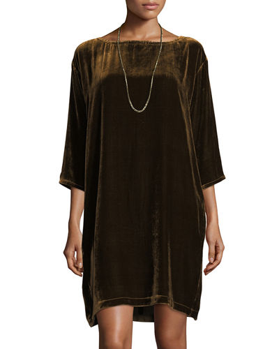 Velvet Short Shift Dress, Plus Size