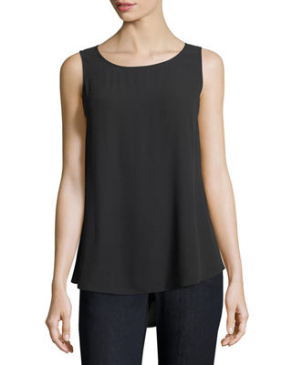 Eileen Fisher Silk Georgette Crepe Tank, Plus Size