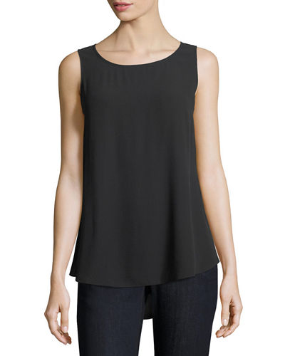 Silk Georgette Crepe Tank, Plus Size