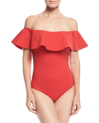 Zaha Off-the-Shoulder Solid Maillot One-Piece Swimsuit