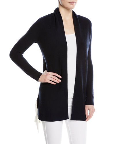 Cashmere Ribbed Side-Tie Open-Front Cardigan