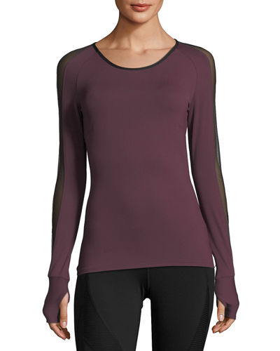 Bolt Scoop-Neck Long-Sleeve Running Top with Mesh