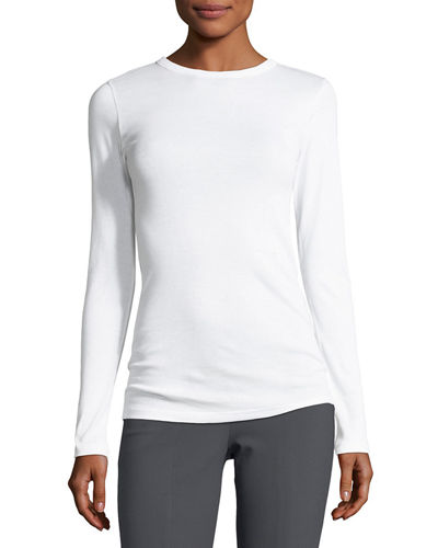 Long-Sleeve Pima Cotton Crewneck Tee