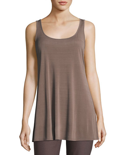 Scoop-Neck Stretch Silk Jersey Tunic, Plus Size