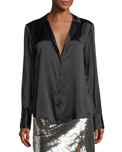 La Lune Long-Sleeve Silk Blouse