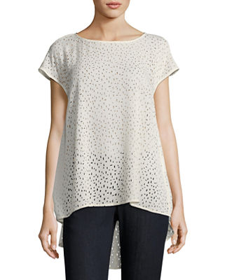 Eileen Fisher Confetti Laser - Cut Silk Top, Plus Size