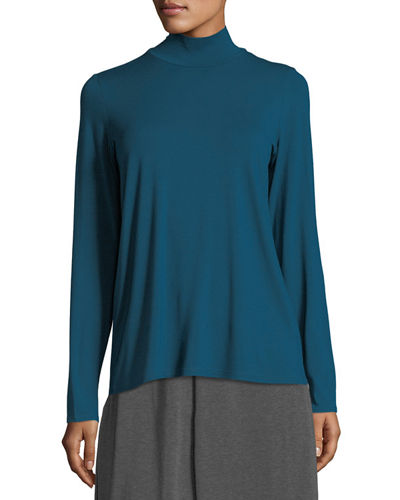 Mock-Neck Long-Sleeve Jersey Top