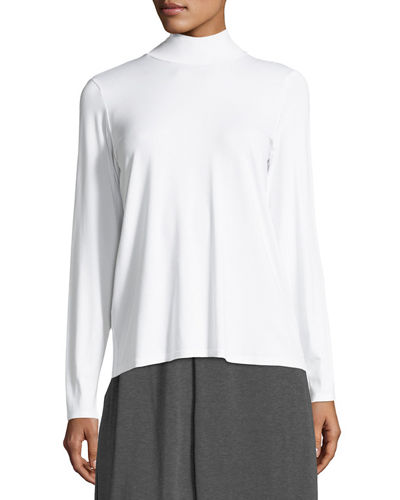 Mock-Neck Long-Sleeve Jersey Top, Petite