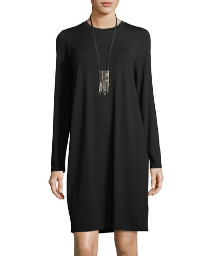 Crewneck Jersey Shift Dress, Plus Size