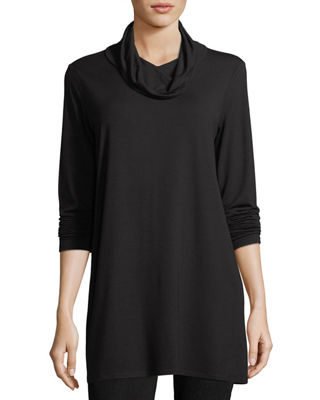 Eileen Fisher Classic Viscose Jersey Cowl Neck Long Sleeve Tunic