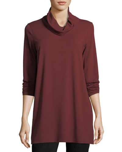 Cowl-Neck Long-Sleeve Tunic, Plus Size