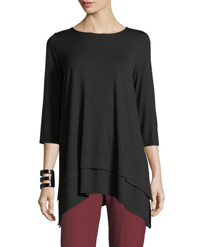 3/4-Sleeve Jersey Tunic, Plus Size