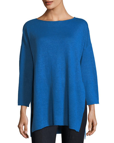 Organic Linen 3/4-Sleeve Top, Plus Size