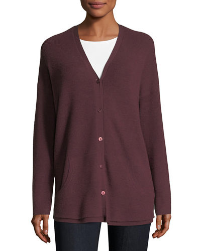 Ribbed Wool Button-Front Cardigan, Plus Size