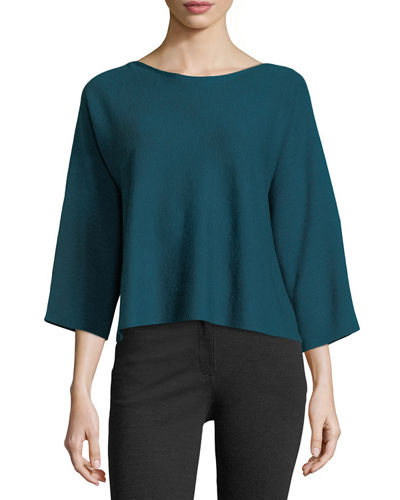 FINE MERINO BAT NECK BOX TOP