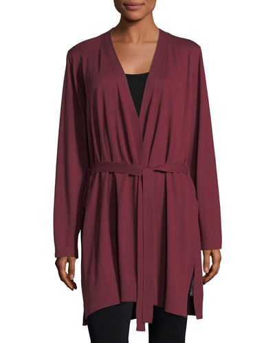 Belted Simple Cardigan, Plus Size