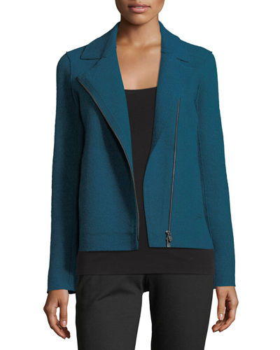 Boiled Wool Moto Jacket, Petite