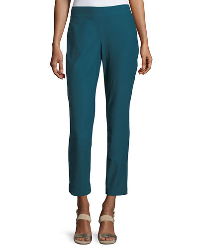 Washable Stretch-Crepe Ankle Pants, Plus Size