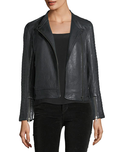 Deana Zip-Front Leather Moto Jacket