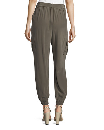 Belted Silk Cargo Pants, Plus Size