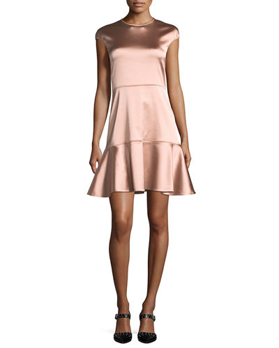 Essential Flare Crewneck A-Line Satin Dress