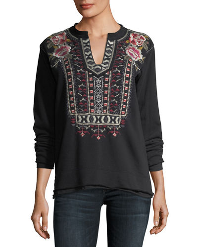 Issoria Embroidered French Terry Sweatshirt, Petite
