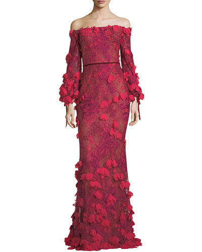 Marchesa notte off the shoulder 3d floral mermaid evening gown junglespirit Choice Image