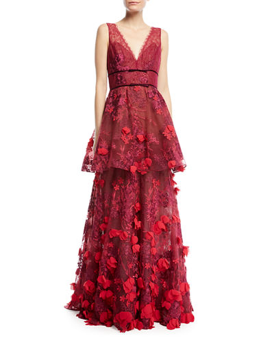 Two-Tiered 3D Floral-Embellished Gown