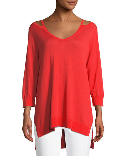Open V-Neck Easy Sweater Tunic, Plus Size
