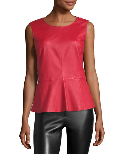 Sleeveless Leather Peplum Top