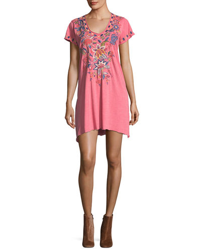 Tivva Jersey V-Neck Draped Embroidered Tunic Dress, Plus Size
