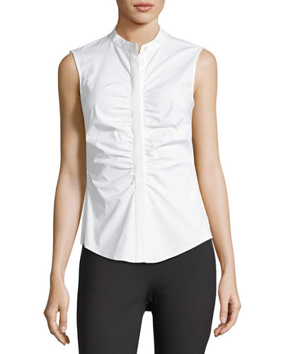 Ruched Fitted Stretch-Cotton Top