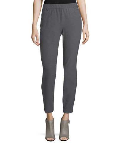 Stretch Crepe Back-Zip Pants, Petite