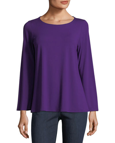 Viscose Jersey Long-Sleeve Top, Plus Size