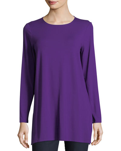 Long-Sleeve Jersey Tunic , Plus Size