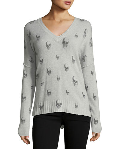 Emmett V-Neck Cashmere Sweater with Skull Print