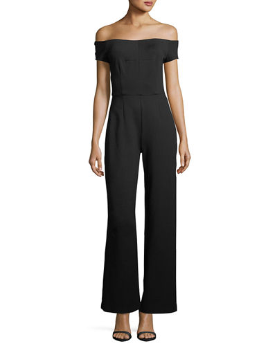 Tropical Off-the-Shoulder Ponte Jumpsuit
