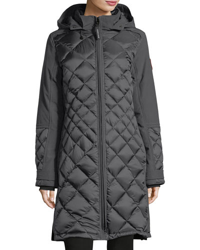 Diamond-Quilted Hooded Cabot Parka Jacket