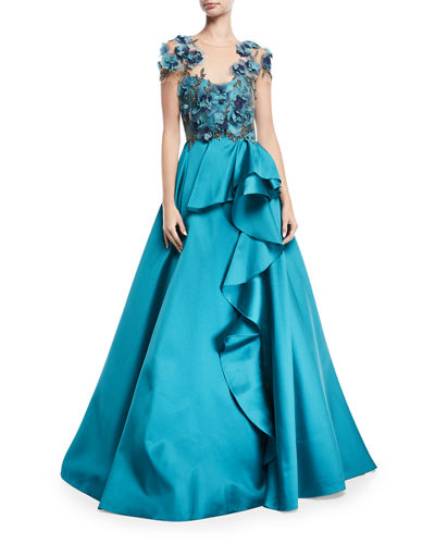 Floral-Bodice Illusion Ball Gown