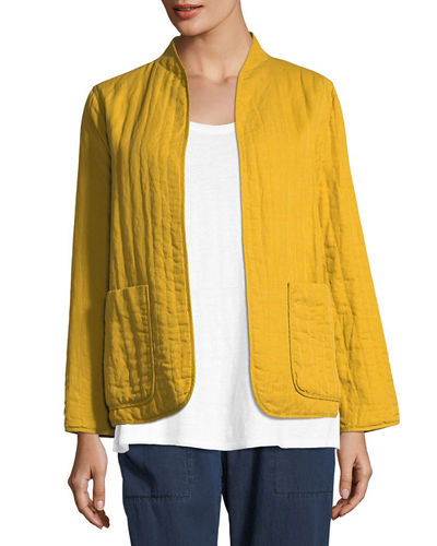 Quilted Linen Slub High-Collar Jacket