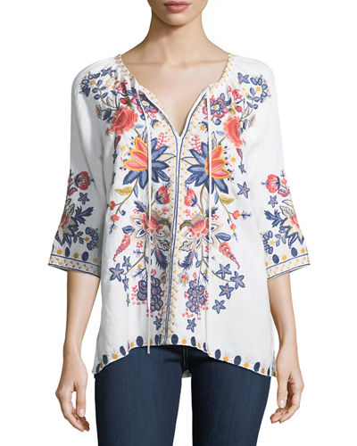 Tivva Embroidered Linen Peasant Top, Petite