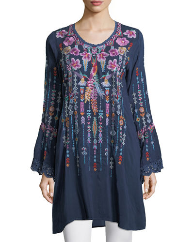 Lulu Embroidered Georgette Tunic, Plus Size