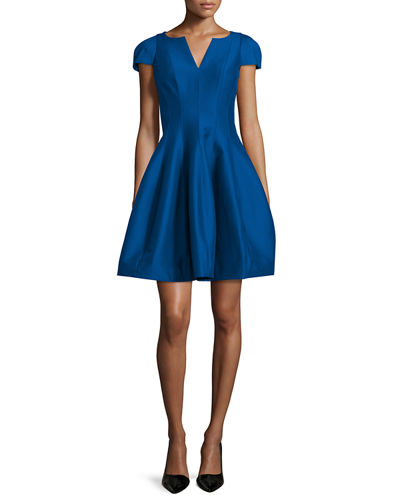 Maggie Tulip-Skirt Split-Neck Dress