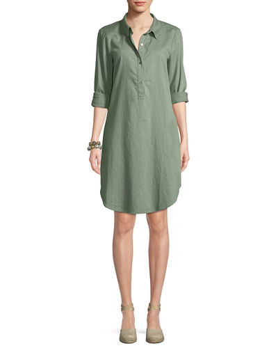 Long-Sleeve Soft Twill Henley Shirtdress, Petite