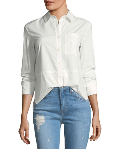 Long-Sleeve Button-Front Cotton Shirt with Ruffle Detail