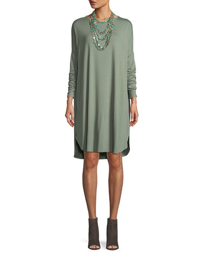Boxy Jersey Long-Sleeve Dress