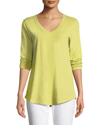 V-Neck Organic Cotton Jersey Slub Top, Plus Size