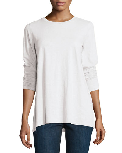 Long-Sleeve Slubby Organic Cotton Jersey Top, Plus Size