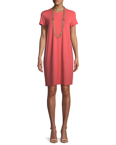 Short-Sleeve Round-Neck Jersey Dress