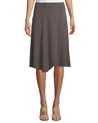 Knee-Length Jersey Faux-Wrap Skirt